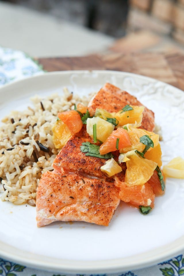Pan Seared Blackened Salmon with Citrus Salsa - healthy and easy salmon recipe, great for anyone trying to get more salmon into their diet.