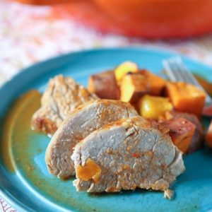 Maple Mustard Roasted Pork Tenderloin with Sweet Potatoes and Mango from aggieskitchen.com