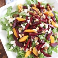 Spring Beet and Goat Cheese Salad with Walnuts from aggieskitchen.com #ThinkFisher