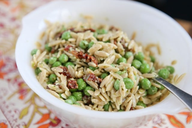 Whole Wheat Orzo with Pesto and Peas