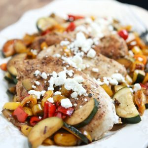 Skillet Balsamic Chicken with Sweet Peppers and Zucchini
