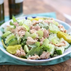 Mediterranean Chopped Tuna Salad - flavor packed, high in protein and veggies and low in carbs. My go-to lunch salad!