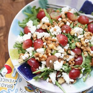 Packed with incredible flavor and nutrition, this Wheatberry and Arugula Salad with Grapes and Nuts will quickly become your new favorite salad!