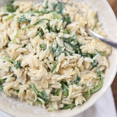 A simple side dish that is full of flavor! Creamy goat cheese and fresh arugula combined with warm orzo, your whole family will love this one.