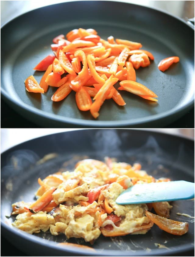 Simply sauteed bell peppers scrambled with eggs and mozzarella cheese. Stuff in a pita and you have breakfast, lunch or dinner!