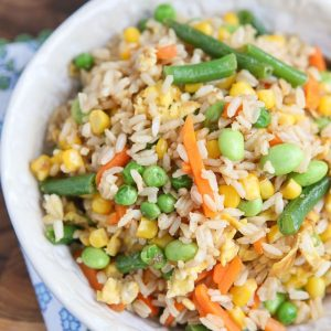 5-Ingredient Vegetable Fried Brown Rice - a quick and healthy side dish for any night of the week.