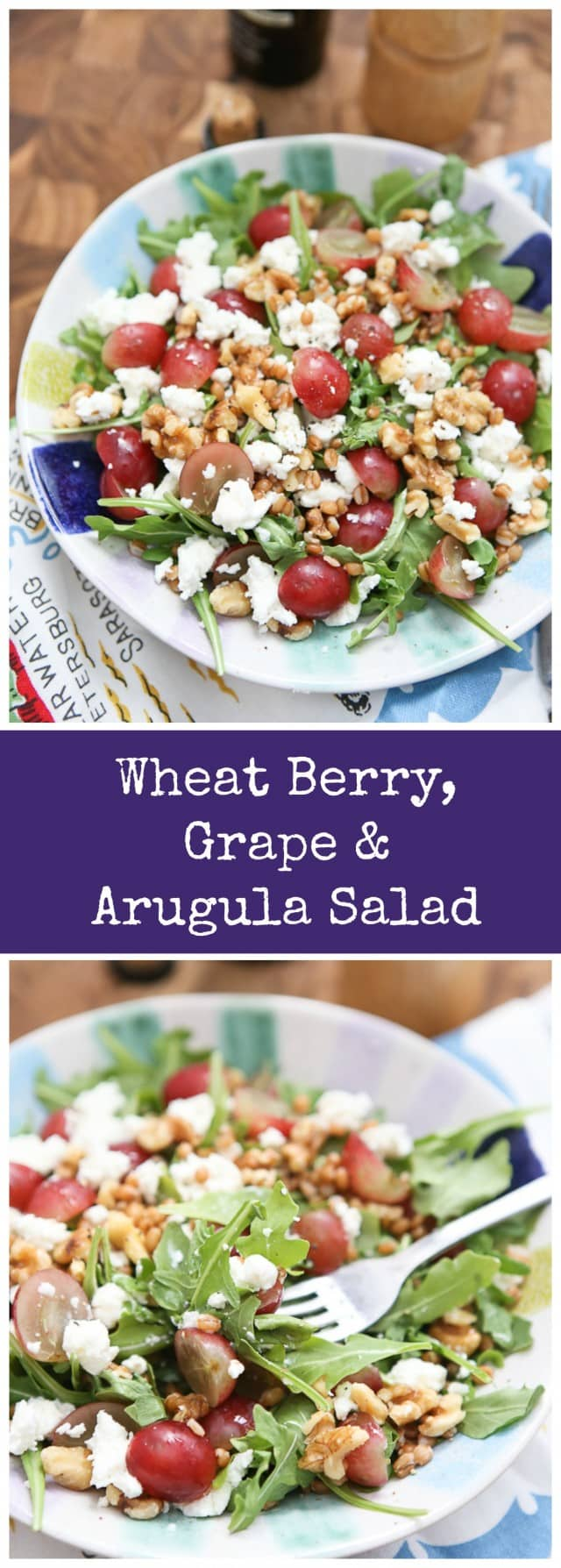 One of my all time favorite salads! Full of flavor and texture, this Wheat Berry and Arugula Salad with Grapes and Nuts will satisfy any salad craving - and you'll feel good eating it too!