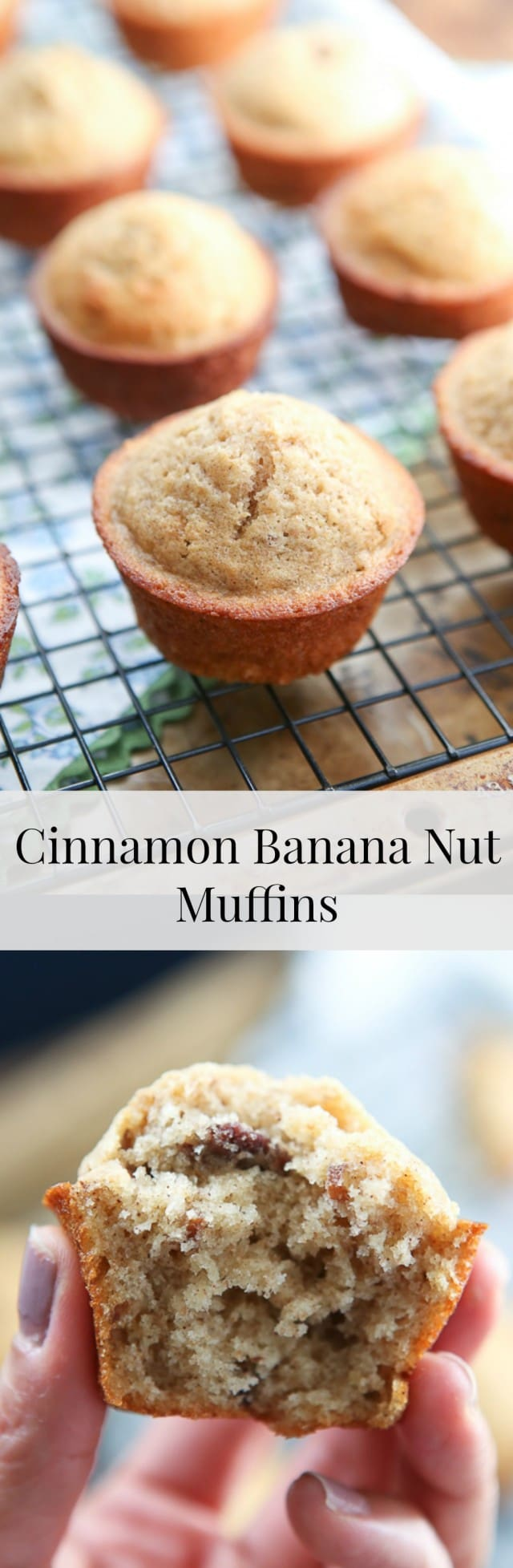 Crunchy pecans, cinnamon and Greek yogurt make these Cinnamon Banana Nut Muffins a treat your whole family will love. #ad