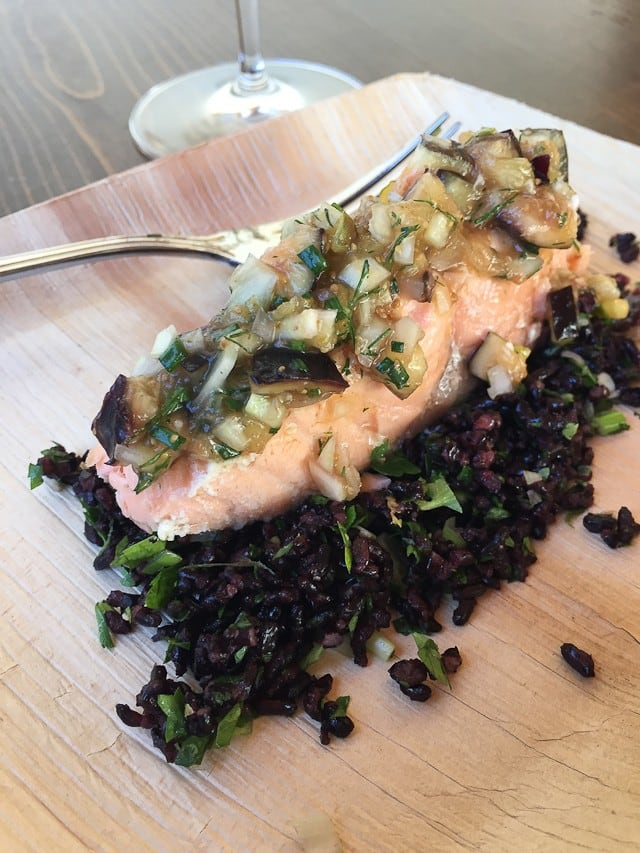 Roasted Salmon with Fig-Fennel Relish Herb Filled Forbidden Rice prepared by Pascale Beale