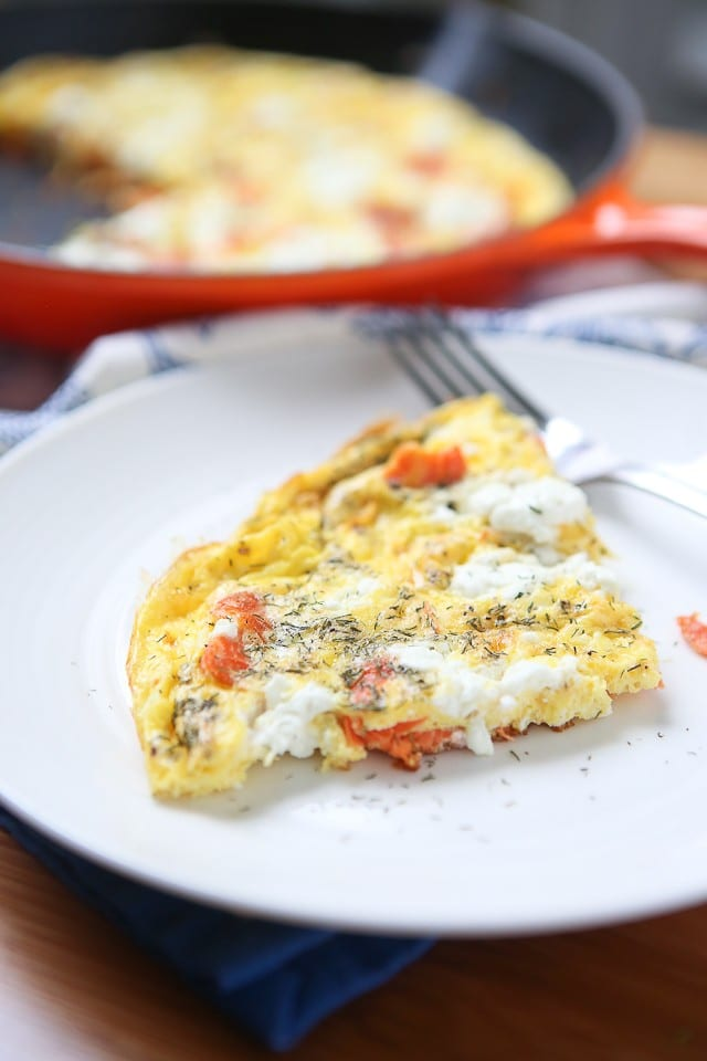 Smoked Salmon Frittata - light egg dish with smoked salmon and goat cheese, great for breakfast, lunch or dinner!