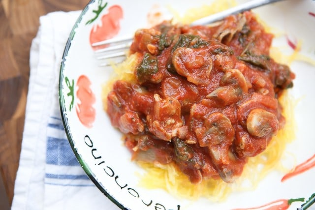 This Spaghetti Squash with Sausage and Mushroom Bolognese is a hearty low carb meal full of flavor!  One of my favorites.