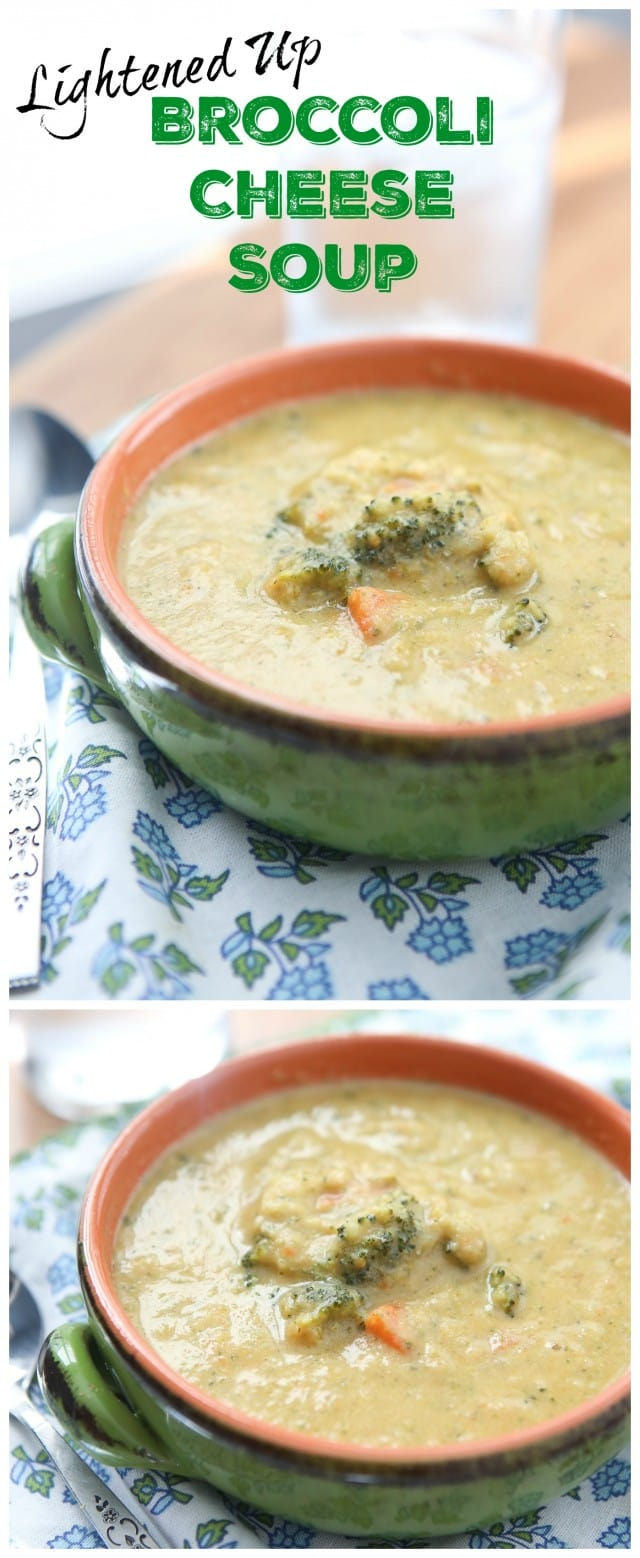 Filled with lots of veggies, this Broccoli and Cheese Soup hits the spot (and is lighter than most creamy soups!)