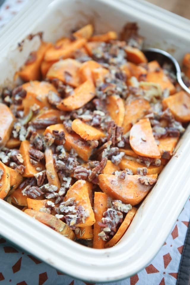 Switch up your sweet potato side dish with this Savory Sweet Potato Gratin with Pecans. A sweet-salty flavor combo with the addition of crunchy pecans makes puts this dish over the top delish! #ThinkFisher