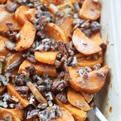 Switch up your sweet potato side dish with this Savory Sweet Potato Gratin with Pecans. A sweet-salty flavor combo with the addition of crunchy pecans makes puts this dish over the top delish! #fisherunshelled