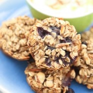 We love this recipe for Blueberry Almond Oatmeal Bites for breakfast or a healthy snack! Serve with vanilla Greek yogurt and a drizzle of honey, so good!