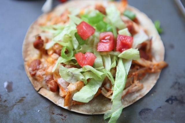 Simple Salsa Chicken and Bean Tostadas - my family loves this dinner and it's a perfect recipe for any night of the week!