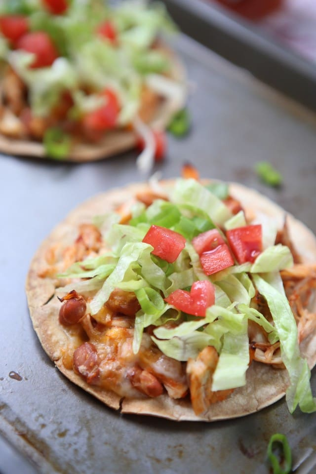 Simple Salsa Chicken Tostadas - my family loves this dinner and it's a perfect recipe for any night of the week!