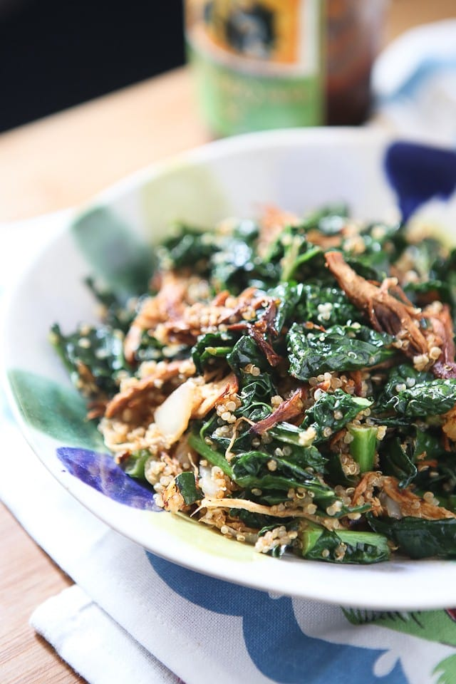BBQ Chicken, Kale and Quinoa Bowl - this healthy recipe comes together quickly and easily, a family favorite!
