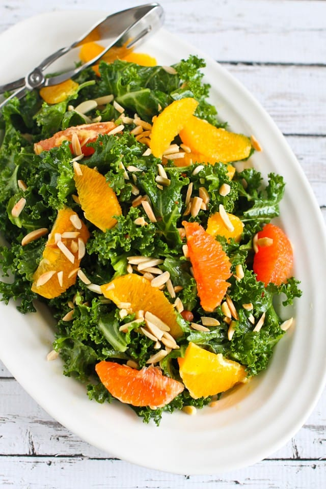 Kale, Almond, Orange Salad from Cookin' Canuck
