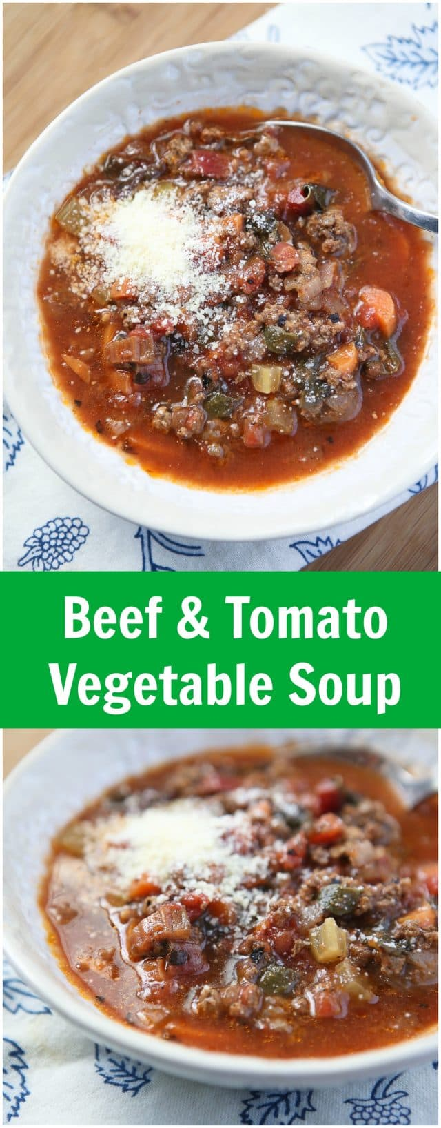 This beefy tomato soup is packed with vegetables - HEALTHY COMFORT FOOD right here! Beef Tomatoe Vegetable Soup Recipe via aggieskitchen.com
