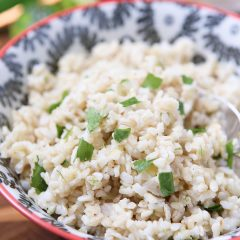 This recipe for Cilantro Lime Brown Rice is a perfect side for any Mexican dish. Use it to fill burritos, top with black beans or eat on its own! Recipe via aggieskitchen.com