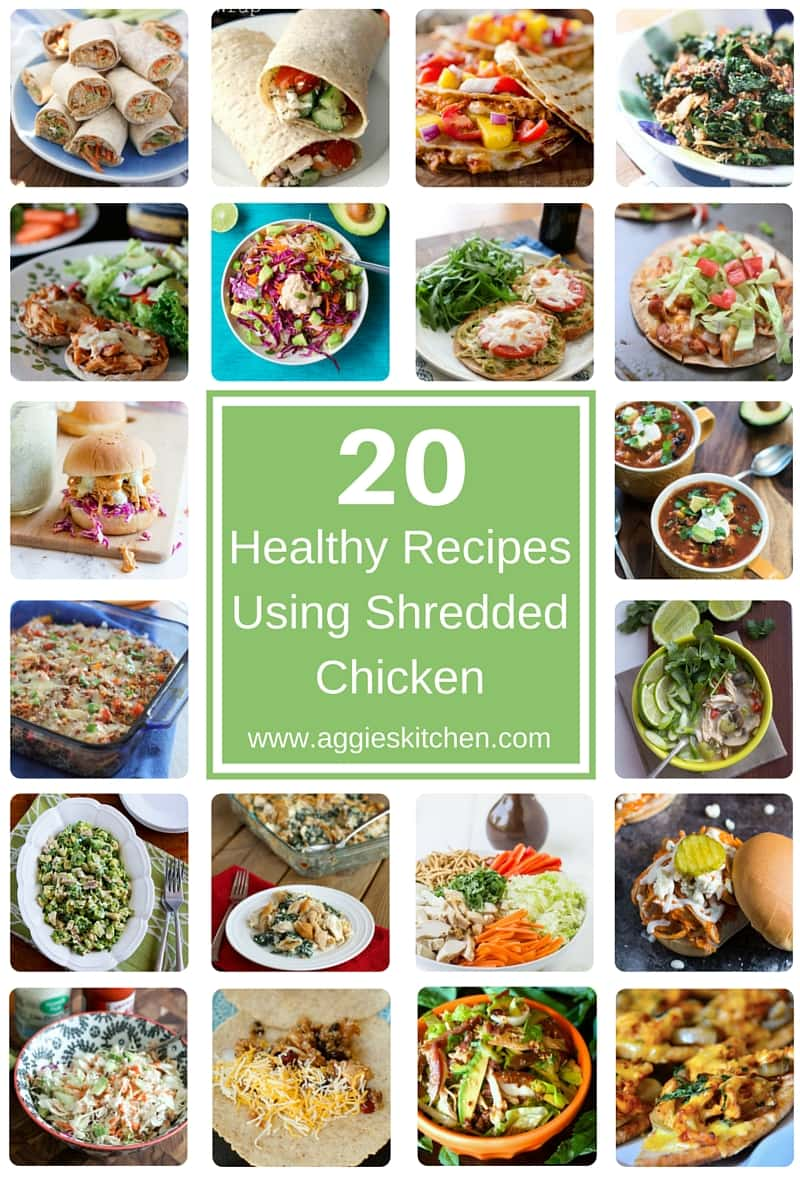 Find inspiration in this collection of delicious healthy recipes using shredded chicken! Healthy Recipes Using Shredded Chicken via aggieskitchen.com
