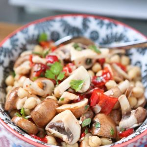 Bring this savory Marinated Mushroom and Chickpea Salad to your next picnic or barbecue! Enjoy on it's own as a vegetarian option, or as a side dish.