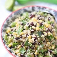If you have been wanting (or reluctant) to try quinoa, this recipe is for you! This Corn and Black Bean Quinoa Salad is a favorite in my house! A wonderful vegetarian meal or side dish for your main meal. Recipe via aggieskitchen.com