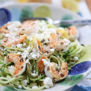 Healthy and simple, Skinnytaste Zoodles with Shrimp and Feta comes together in just 15 minutes! Low carb and low calorie recipe from Skinnytaste Fast and Slow Cookbook, via aggieskitchen.com