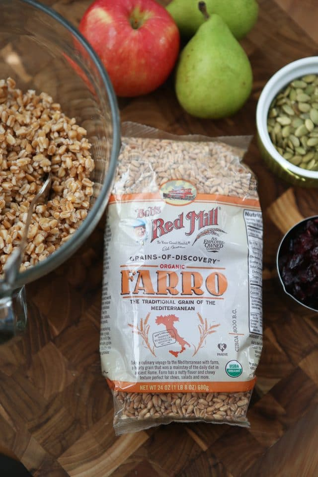 Harvest Farro Salad is chock full of goodness and so much flavor! Such a delicious vegetarian grain salad to serve over the fall and winter season. Would be a great addition to holiday potlucks too! Recipe via aggieskitchen.com