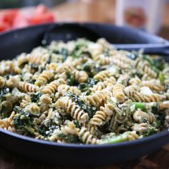 This Pesto Pasta with Turkey and Kale is a super easy weeknight meal that will get your kids eating kale! Hearty and healthy recipe via aggieskitchen.com