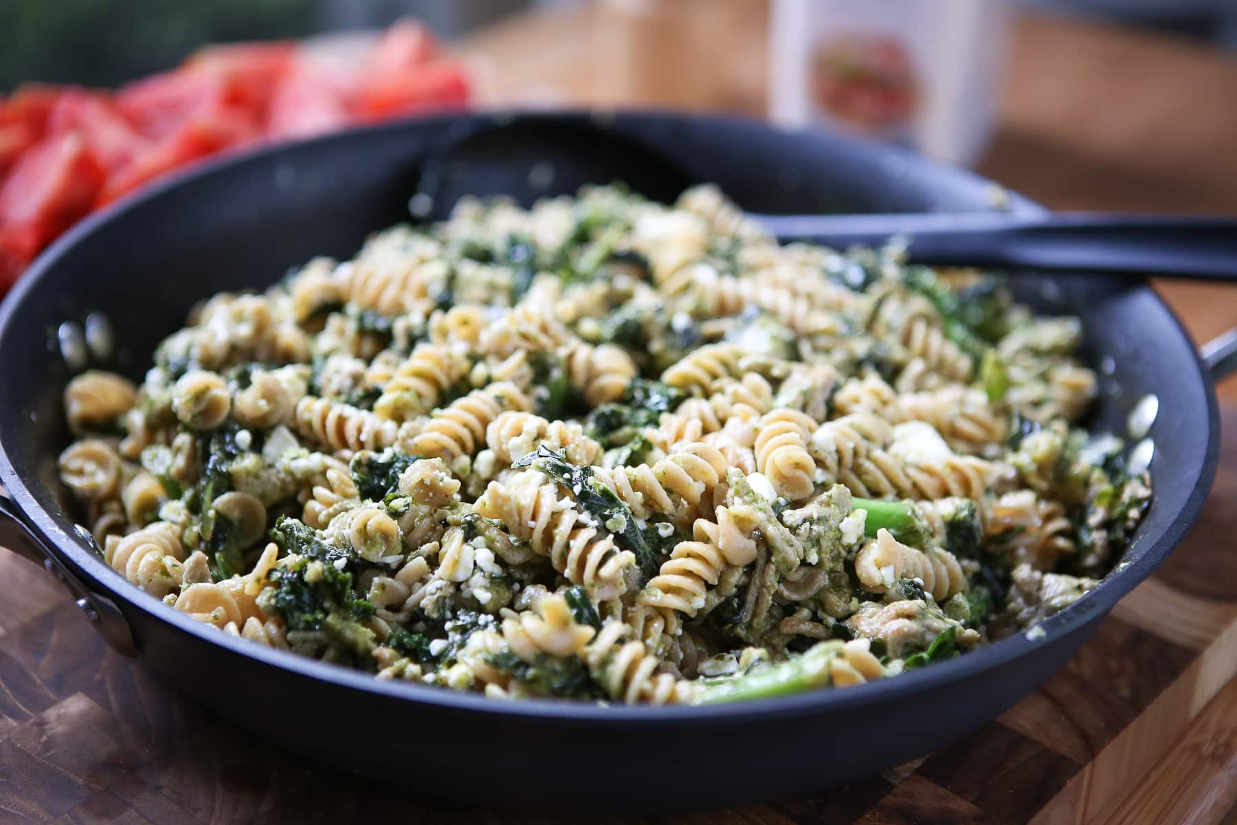 Pesto Pasta with Ground Turkey and Kale