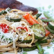 Linguine with Spring Vegetables makes a great light side pasta dish to grilled seafood or chicken, or just enjoy on it's own! I love to use whole wheat pasta for extra protein and nutrition. Recipe via aggieskitchen.com