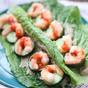 Shrimp and Hummus Lettuce Wraps are great for quick lunches or dinners - only 263 calories per serving and 21 grams of protein! Great low carb meal if you are trying to lose weight.