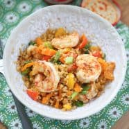 Quick lunch or dinner for one! Cajun Shrimp and Cauliflower Rice Stir Fry - low carb, high protein and full in flavor.