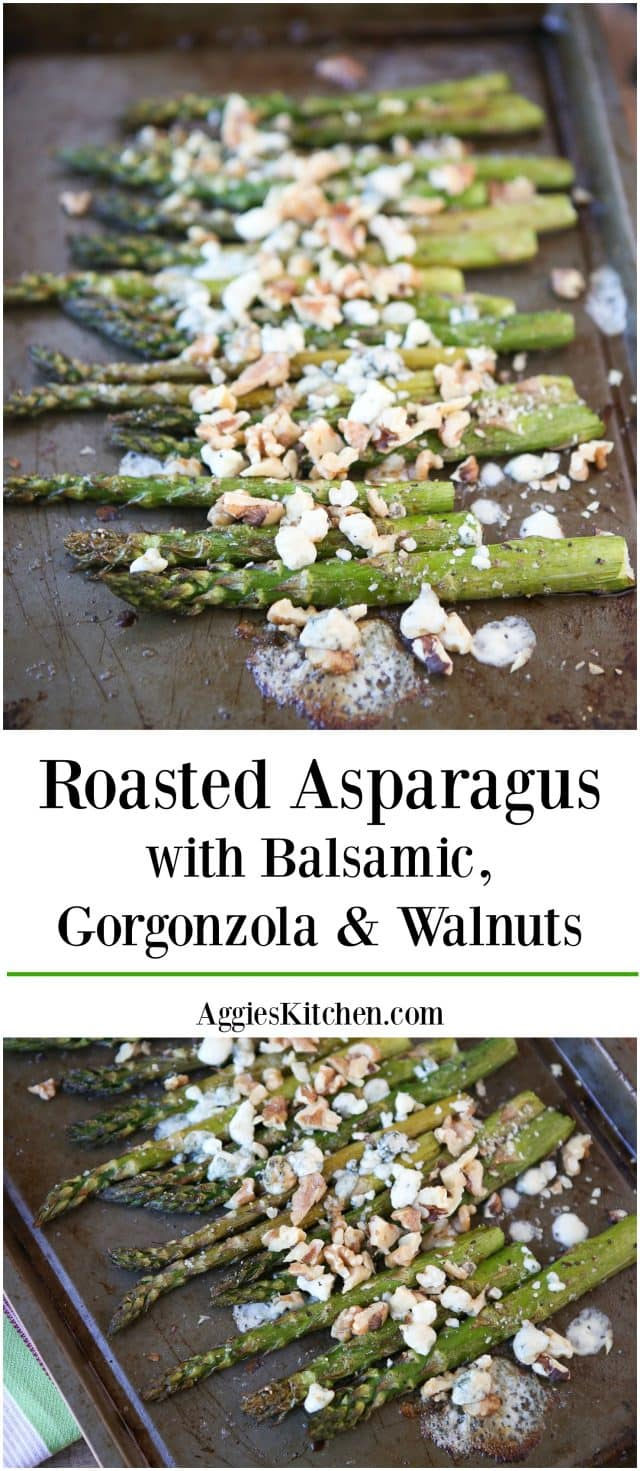 Add this Roasted Asparagus with Balsamic, Gorgonzola and Walnuts to your spring menus!