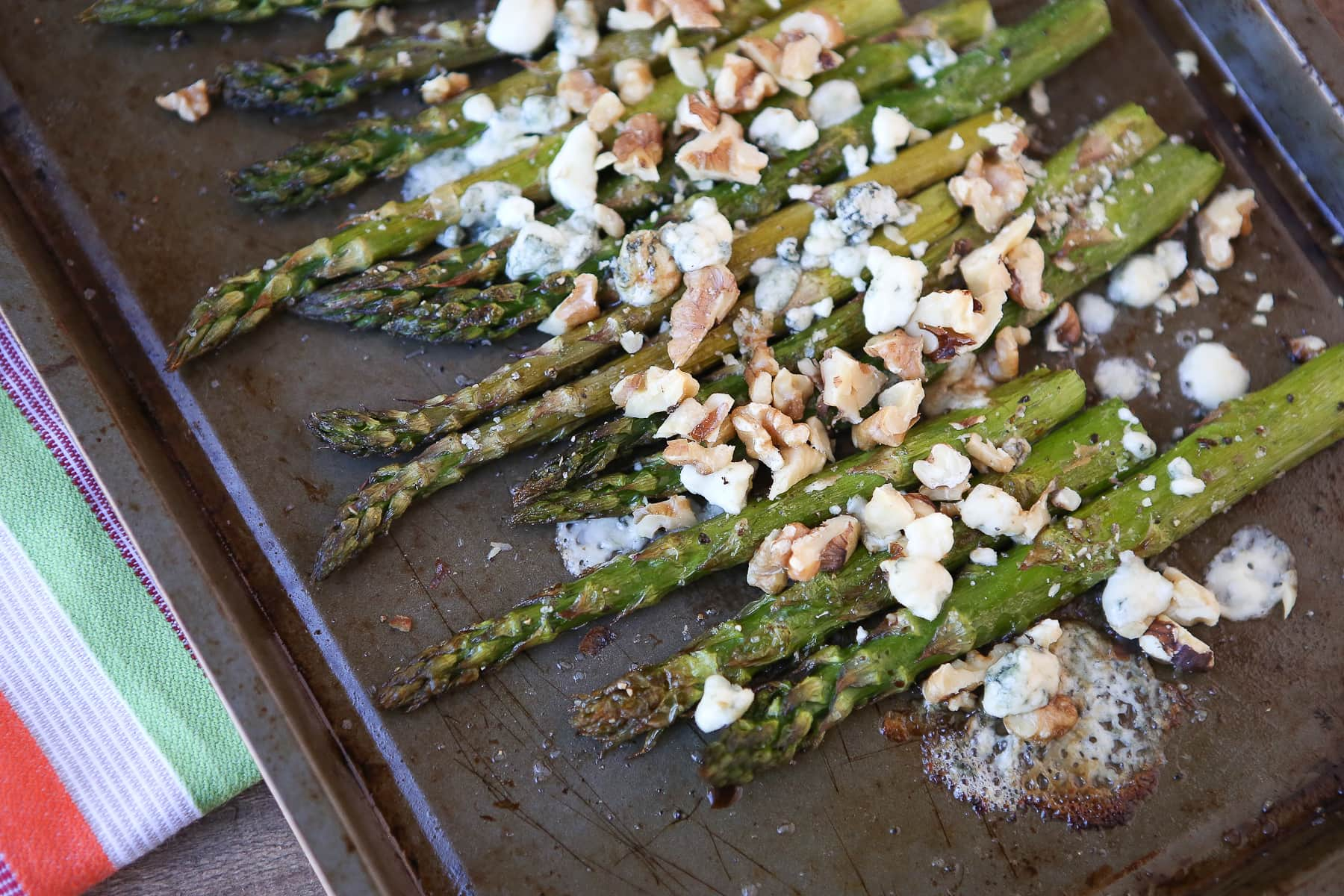 roasted asparagus with balsamic gorgonzola and walnuts aggie s