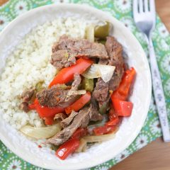 Add this Slow Cooker Pepper Steak from Add A Pinch to your weeknight dinner rotation. So easy and my family loved it!