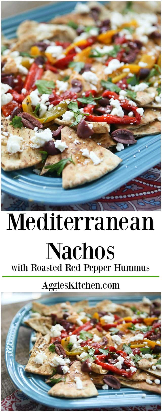 Say hello to your new favorite appetizer - Mediterranean Nachos with Roasted Red Pepper Hummus! Topped with Sabra Hummus, roasted peppers, olives, feta and fresh herbs, you can't go wrong with this one! Recipe via aggieskitchen.com