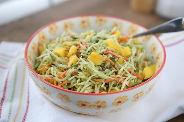 This Tangy Mustard Broccoli Slaw Salad with Mango is the perfect addition to any spring or summer meal! Serve with burgers, chicken or fish. Recipe via aggieskitchen.com