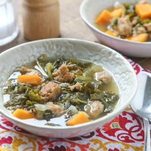 paleo slow cooker sausage and sweet potato kale soup