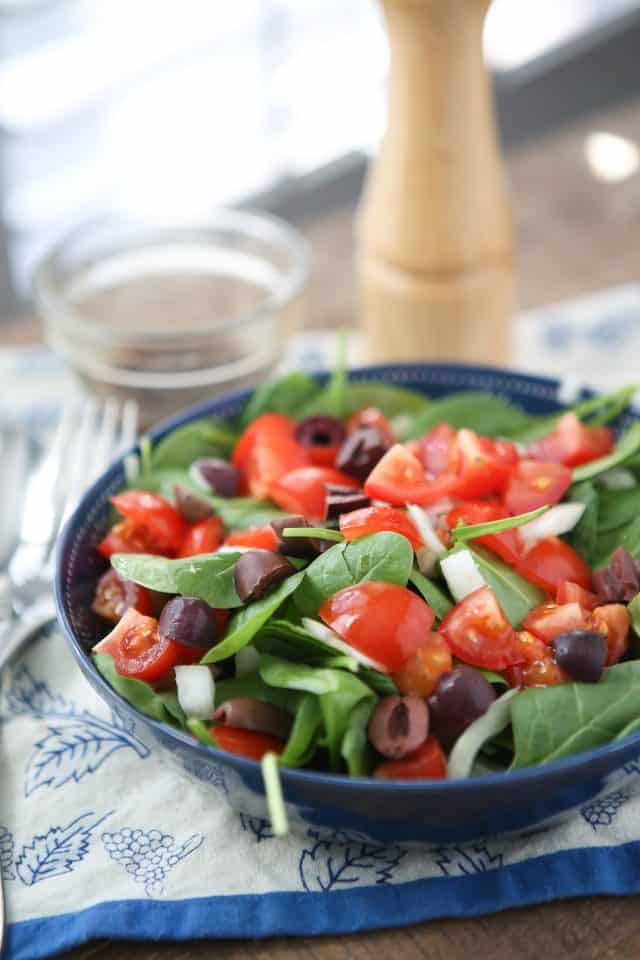 When you are trying to get back in the salad, keep it simple with this Chopped Tomato and Spinach Salad. A few ingredients and a light oil and vinegar dressing is all you need to feel good about eating salad again.