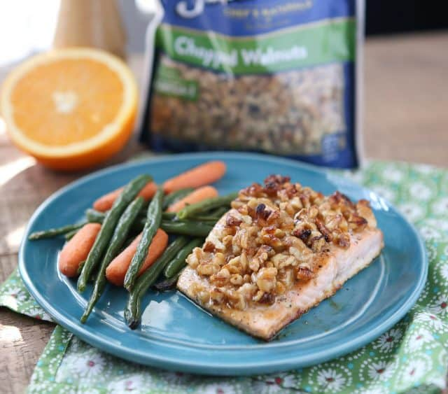 Orange Walnut Crusted Salmon is a great option for a fresh and light dinner. High in protein, low in carbs and heart healthy - ready in just under 30 minutes!