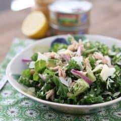 lemon tuna white bean kale salad