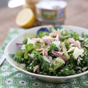 lemon tuna white bean kale salad