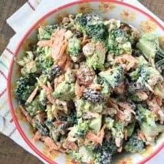 broccoli raisin salad with walnuts