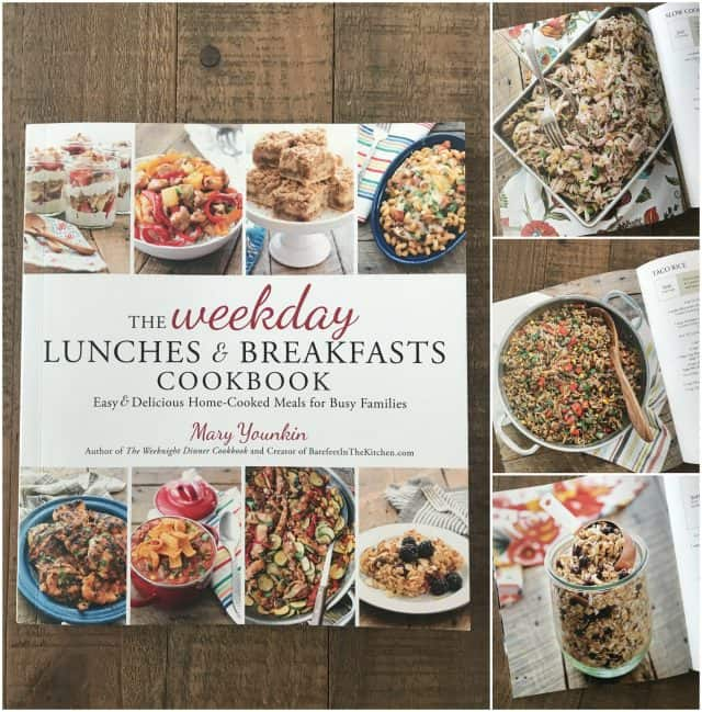 photo collage of Weekday Lunches & Breakfasts Cookbook plus 3 photos of recipes from inside book